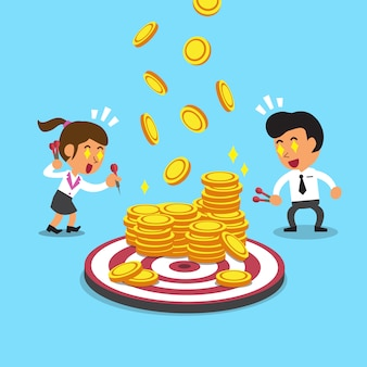 Business people with target and money coins