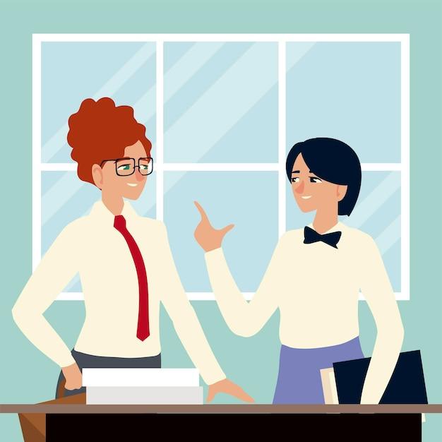 ビジネスマン、オフィスのイラストでドキュメントを扱う女性