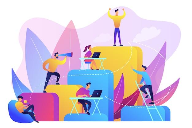 ビジネスマンは働き、企業のはしごを登ります。雇用階層、キャリアプランニング、キャリアラダーおよび成長コンセプト