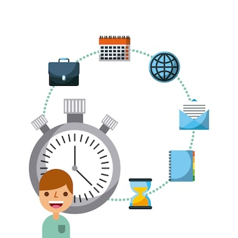 Business people work chronometer time icons