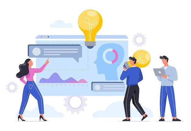 비즈니스 사람들은 팀에서 일하고 브레인 스토밍합니다. 새로운 아이디어 개념 찾기. 창의적인 마음과 혁신. 삽화
