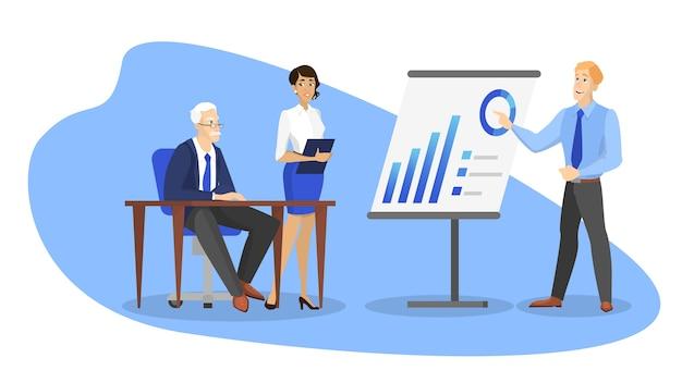 ビジネスの人々はチームで働き、ブレインストーミングと将来の戦略