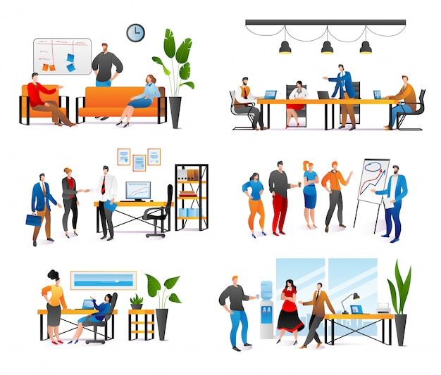 Business people at work meeting in office set of  illustrations. teamwork, two businessmen colleagues at meeting, communication, discussion and brainstorming, planning work. cooperation.