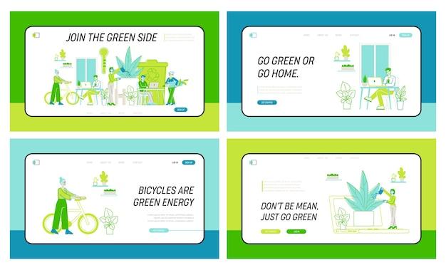 Деловые люди работают вместе в современном зеленом офисе с набором шаблонов посадочной страницы растений. творческие персонажи с ноутбуками используют экологические технологии для работы, успешной команды. линейный