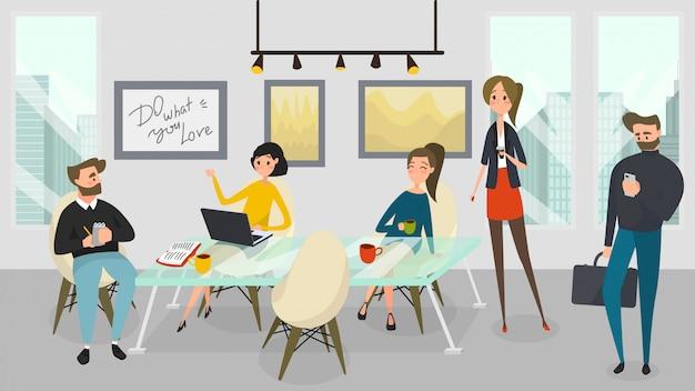 ビジネスの人々は、近代的なオフィス、イラストで一緒に働きます