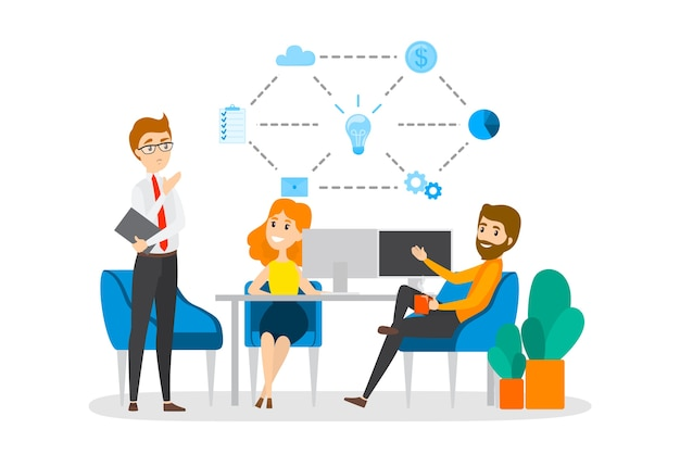 ビジネスの人々はチーム、ブレインストロームで共に働き、成長と成功に向かって動きます。パートナーシップとコラボレーション。会社員が会社の戦略について話し合う。平らな