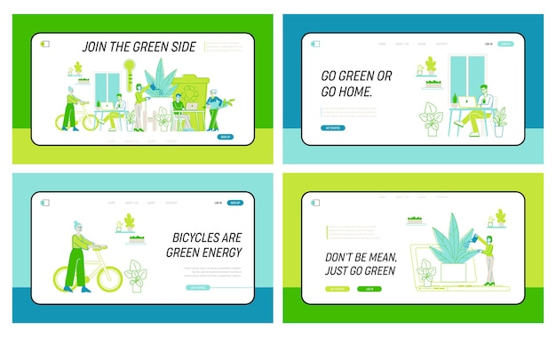 Business people work together in modern green office with plants landing page template set. creative characters with laptops use eco technologies for job, successful team. linear