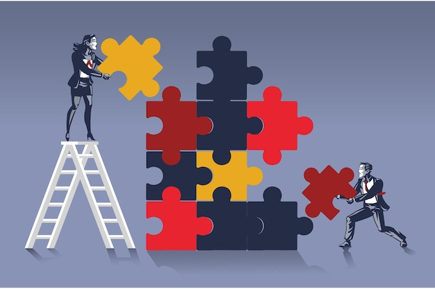 Business people work together to solve huge jigsaw puzzle blue collar illustration concept