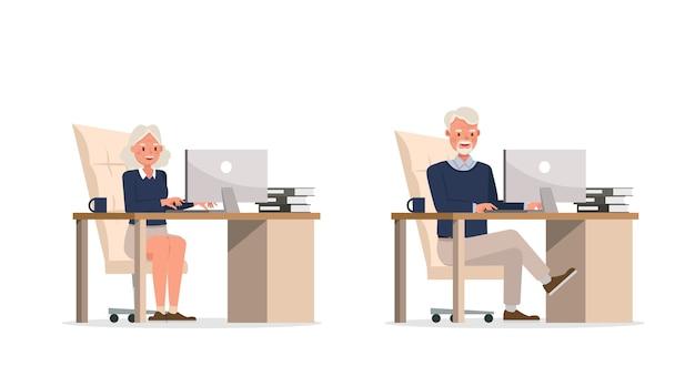 Иллюстрация работника деловых людей Premium векторы
