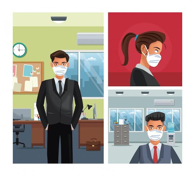 Деловые люди работают и носить медицинскую маску