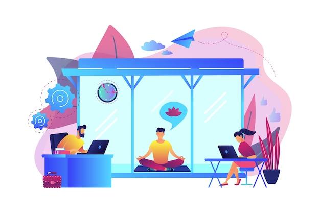 瞑想とリラックスエリアでオフィスのラップトップで働くビジネスマン。オフィス瞑想室、瞑想ポッド、オフィスリラックス場所のコンセプト。明るく鮮やかな紫の孤立したイラスト
