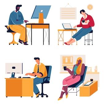 사무실에서 일하는 사업 사람들
