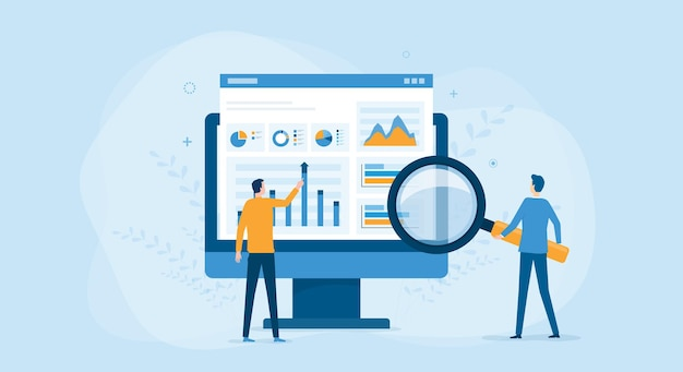 Business people working for data analytics and monitoring
