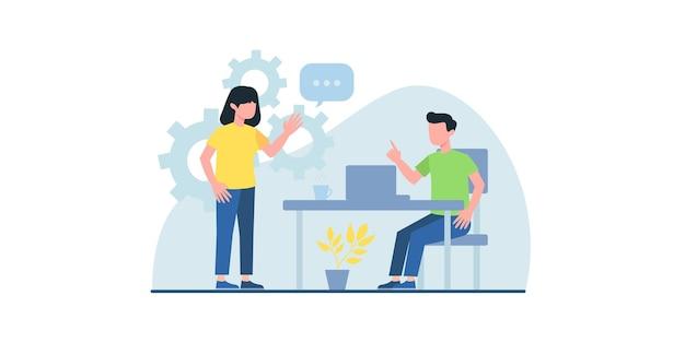 フラットなイラストで働くビジネスマンは、オンライン会議のwebページデザインテンプレートに使用できます