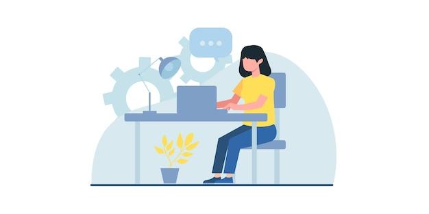 평면 그림을 작업하는 비즈니스 사람들은 온라인 회의 웹 페이지 디자인 템플릿에 사용할 수 있습니다.