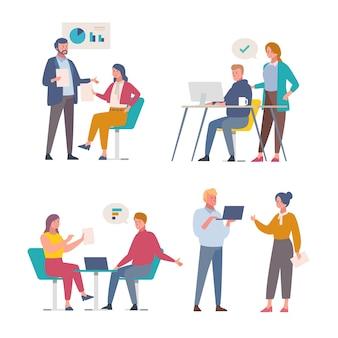 Бизнесмены работая тема иллюстрации