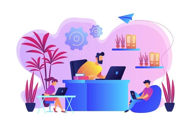 식물과 꽃과 함께 현대적인 친환경 사무실에서 일하는 사업 사람들. 친 화성 디자인 룸, 친환경 작업 공간, 그린 오피스 컨셉. 밝고 활기찬 보라색 고립 된 그림