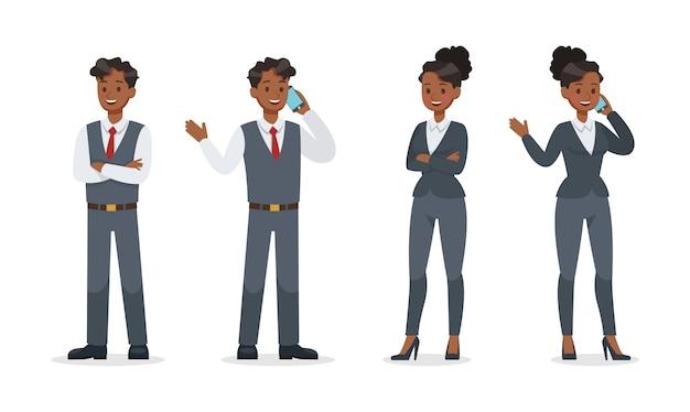 オフィス文字セットで働くビジネス人々