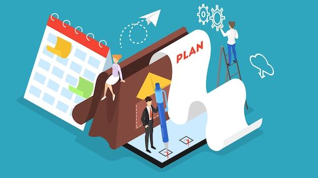 チームで作業して計画しているビジネス人々。時間管理の概念。週スケジュールを作成します。等角投影図