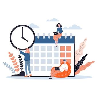 チームで作業し、計画しているビジネス人々。時間管理の概念。週スケジュールを作成します。等角投影図