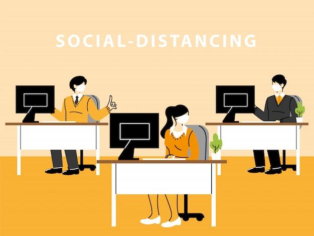 Деловые люди, работающие в офисе и поддерживающие социальную дистанцию, надевают маску, чтобы предотвратить распространение вируса