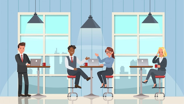 Business people working and meeting in office character set