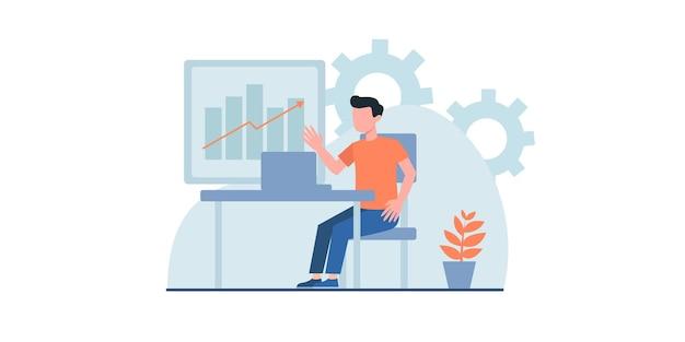 ウェブサイトとモバイルウェブ開発のための現代のベクトルイラストの概念を働くビジネスマン