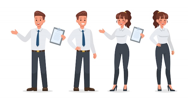 Business people working in office character set