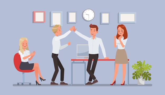 Business people working in office character