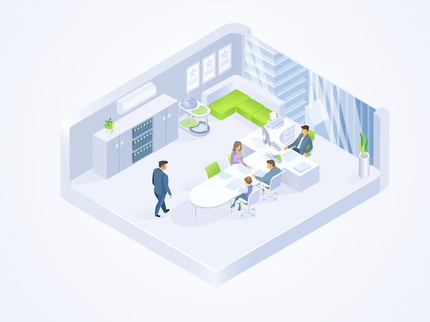 Business people working in office isometric vector