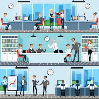 Business people working in office set, men and women having conference and meeting for business collaboration horizontal  illustrations