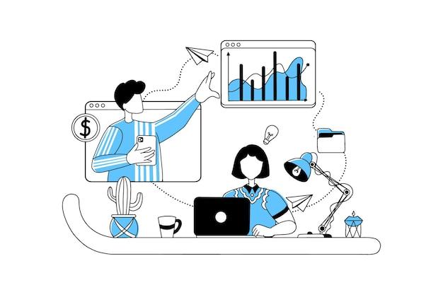 데이터 및 차트를 사용하여 온라인으로 작업하는 비즈니스 사람들