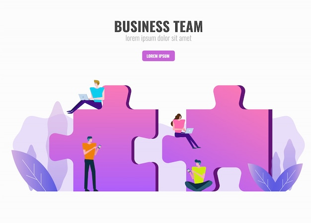 Business people working on puzzle