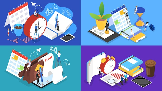 Business people working in team and planning the work. time management concept. making a week schedule. vector isometric illustration