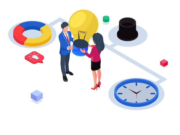 Business people working together. isometric business startup illustration.