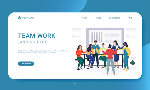 팀웍 기반의 랜딩 페이지를 위해 직장에서 함께 일하는 사업 사람들.