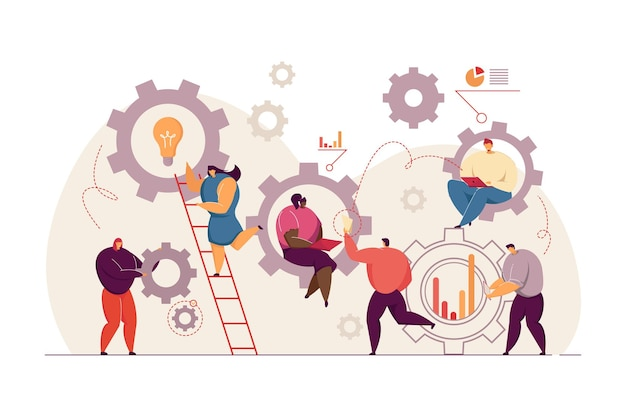 Business people working together in team flat illustration