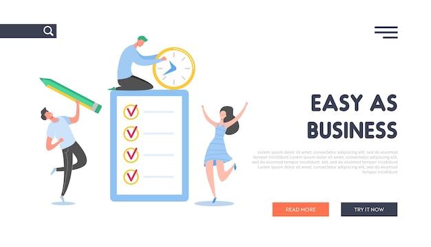 チェックリストのランディングページと一緒に働くビジネスマン。小さなキャラクターがビジネスタスクリストを完了します。男と女のウェブサイトのチェックボックスでドキュメントを行うには。