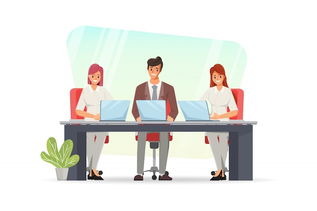 랩톱 컴퓨터를 사용하는 사업 사람들. 팀워크 캐릭터 그룹.