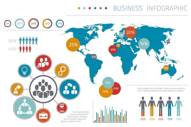 Illustrazione infografica della mappa del mondo di persone di affari, mappa aziendale con elemento grafico e grafico.