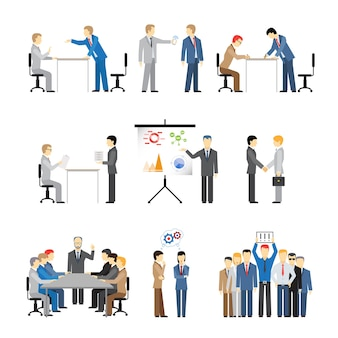 Business peoples in different poses for teamwork, meetings and conference.