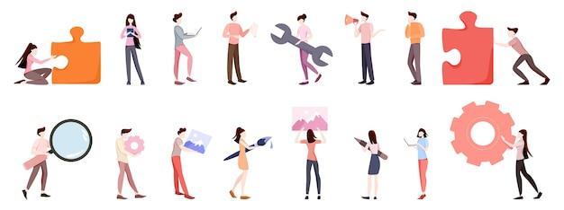Набор деловых людей. мужчина и женщина в костюме в разных позах. офисный человек, профессиональный работник. иллюстрация