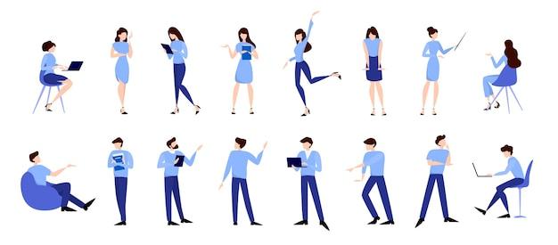 Набор деловых людей. мужчина и женщина в костюме в разных позах. офисный человек, профессиональный работник.