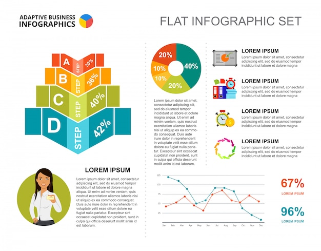 Business percentage and line charts template for presentation