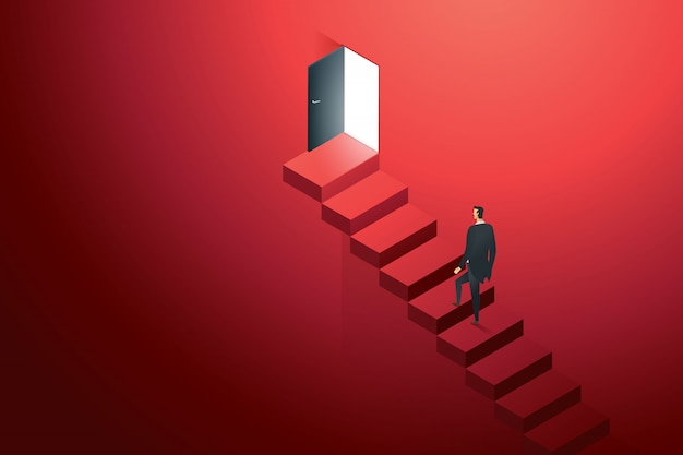 Business person climbing on concrete ledder at door black on wall red up path ladder to goal success. illustration