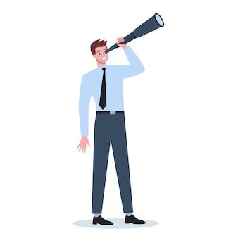 望遠鏡を持っているフォーマルなオフィス服のビジネスパーソン。新しい視点と機会を探している男。リーダーシップの概念。