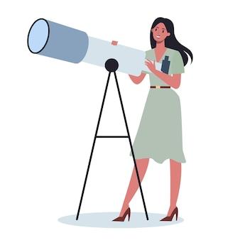 望遠鏡を持っているフォーマルなオフィス服のビジネスパーソン。新しい視点と機会を探している女性。リーダーシップの概念。