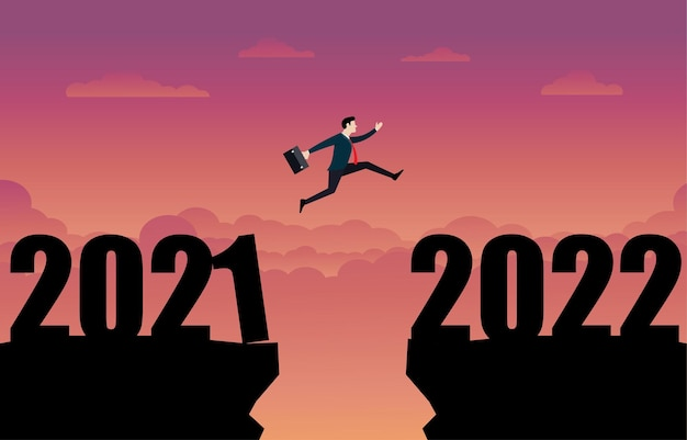 A business person jumping to the new year 2022. businessman jump over cliff gap, overcome the difficulty. business concept. leadership, goal, achievement, success. silhouette vector illustration flat