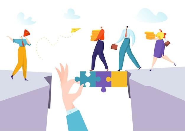ビジネスパーソン男性女性の概念は成功ソリューションブリッジのためのパズルの接続を作成します