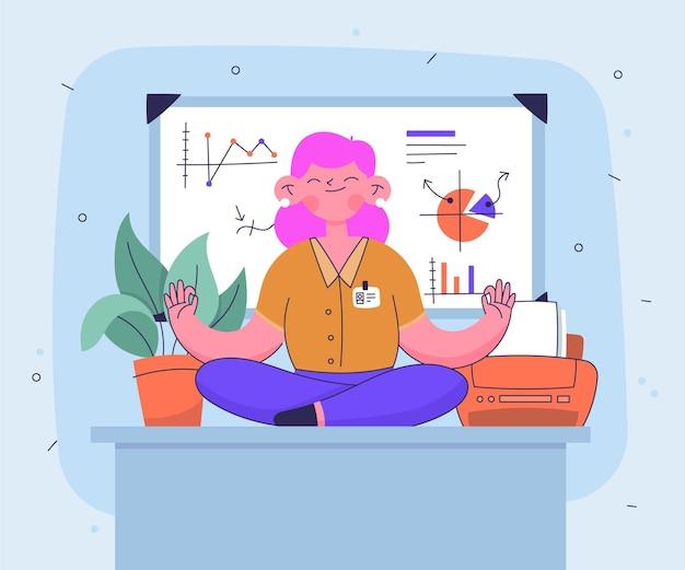 平和的に瞑想するビジネスパーソン